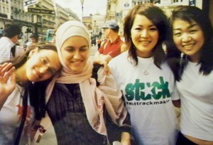 From left to right: Sonya, her sister Radia, and two of Radia's friends; Paris, summer 2004.